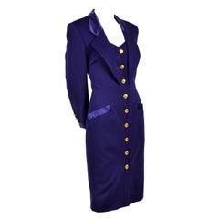 New Escada Vintage Dress in Tuxedo Style Purple Wool W/ Satin Trim With Tags