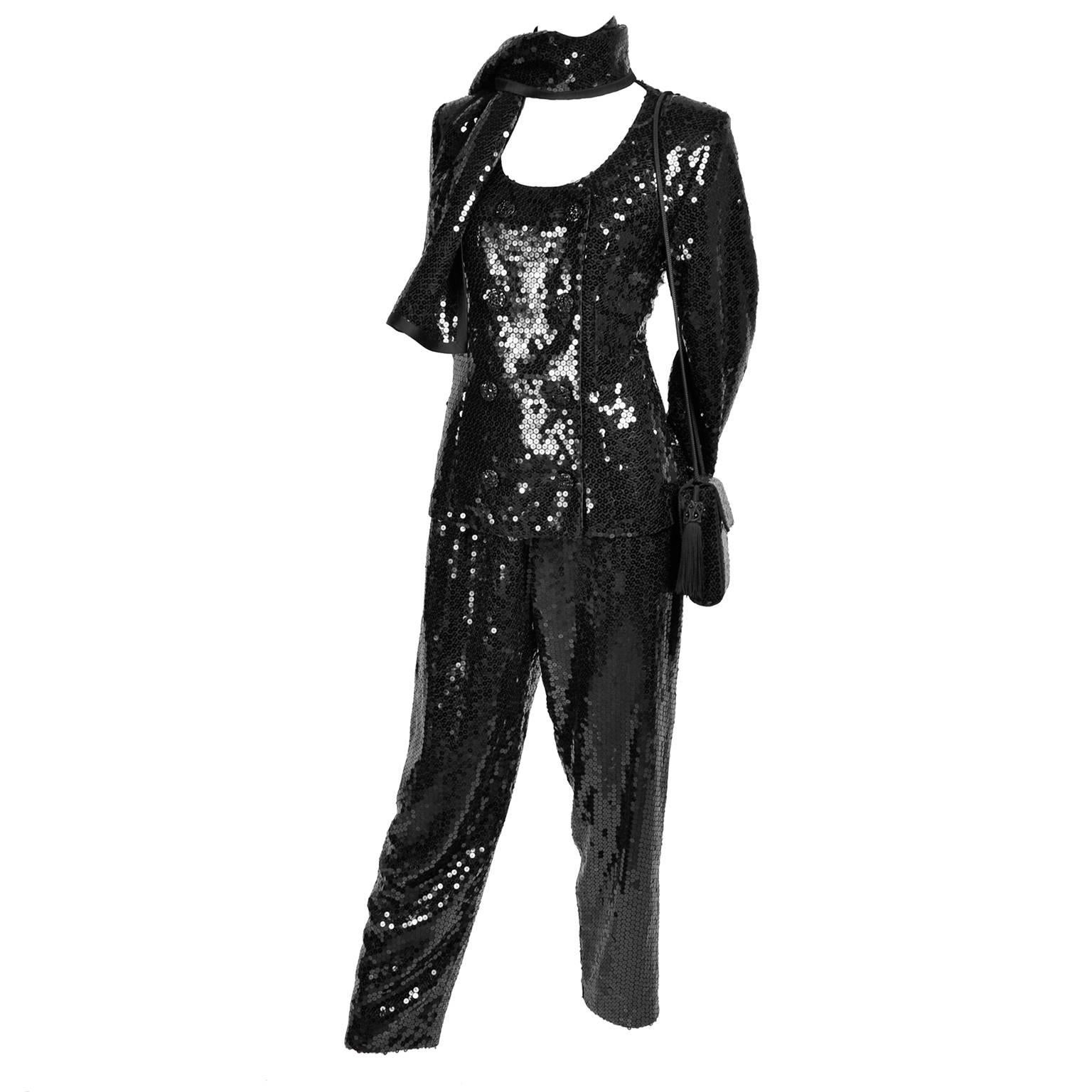 Vintage YSL Yves Saint Laurent Black Sequin Evening Pant Suit W/ Top Bag & Scarf