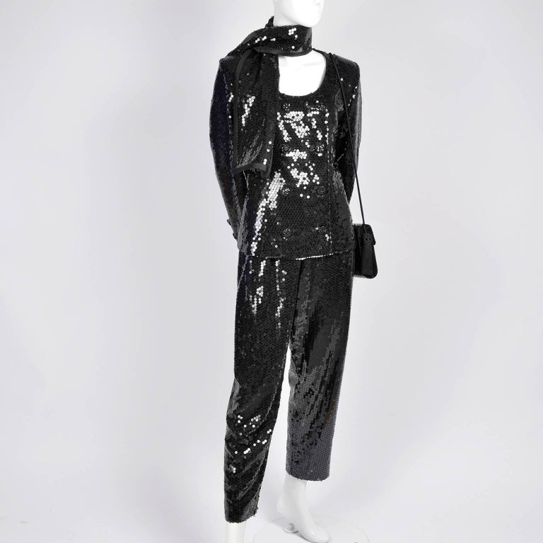 Vintage YSL Yves Saint Laurent Black Sequin Evening Pant Suit W/ Top Bag & Scarf In Excellent Condition For Sale In Portland, OR