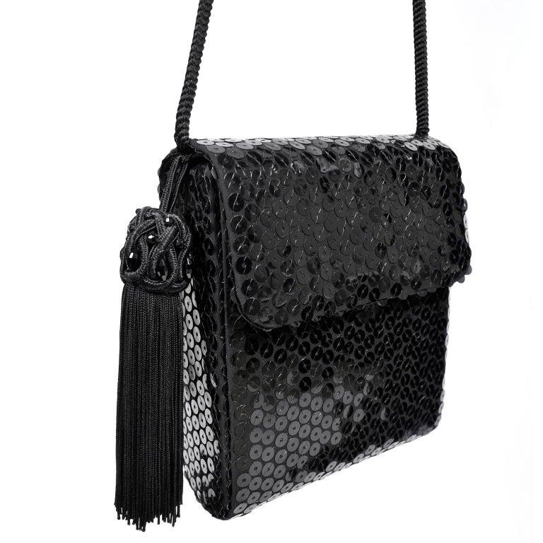 Vintage Ysl Yves Saint Laurent Black Sequin Evening Pant