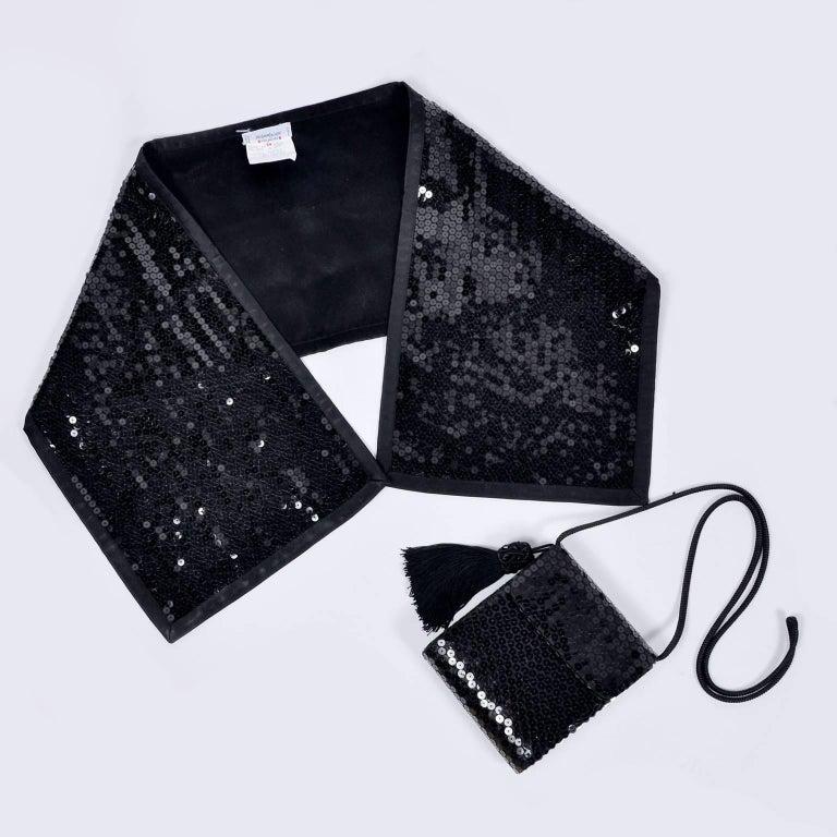 Women's Vintage YSL Yves Saint Laurent Black Sequin Evening Pant Suit W/ Top Bag & Scarf For Sale