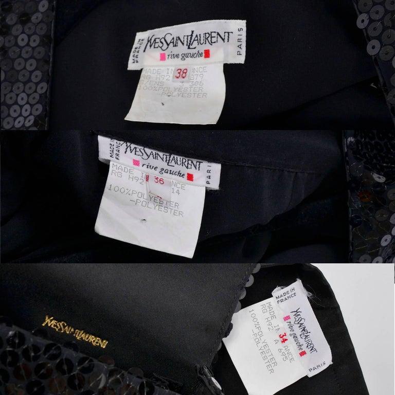 Vintage YSL Yves Saint Laurent Black Sequin Evening Pant Suit W/ Top Bag & Scarf For Sale 6