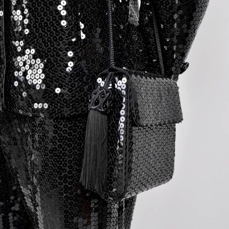 Vintage YSL Yves Saint Laurent Black Sequin Evening Pant Suit W/ Top Bag & Scarf For Sale 1
