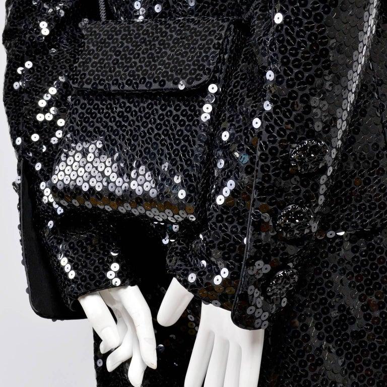 Vintage YSL Yves Saint Laurent Black Sequin Evening Pant Suit W/ Top Bag & Scarf For Sale 5