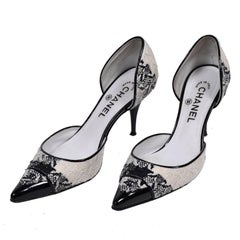 Chanel Black and Ivory Woven D'Orsay Pointed Toe Shoes Size 7.5