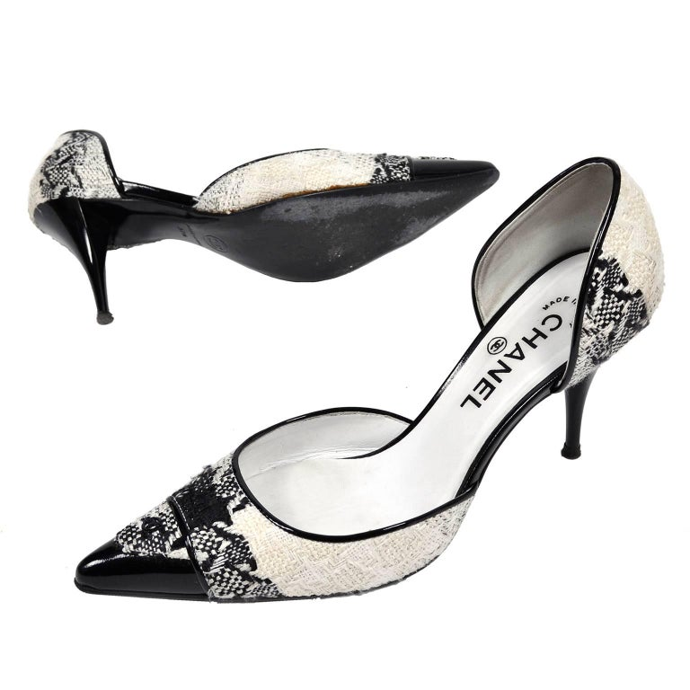 Chanel Black and Ivory Woven D'Orsay Pointed Toe Shoes Size 7.5  4