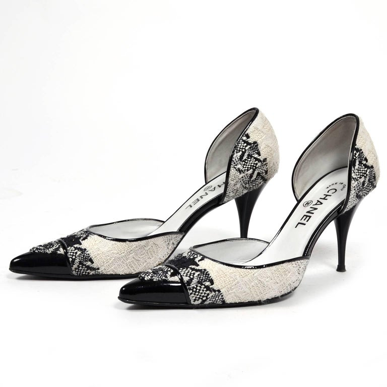 Chanel Black and Ivory Woven D'Orsay Pointed Toe Shoes Size 7.5  3