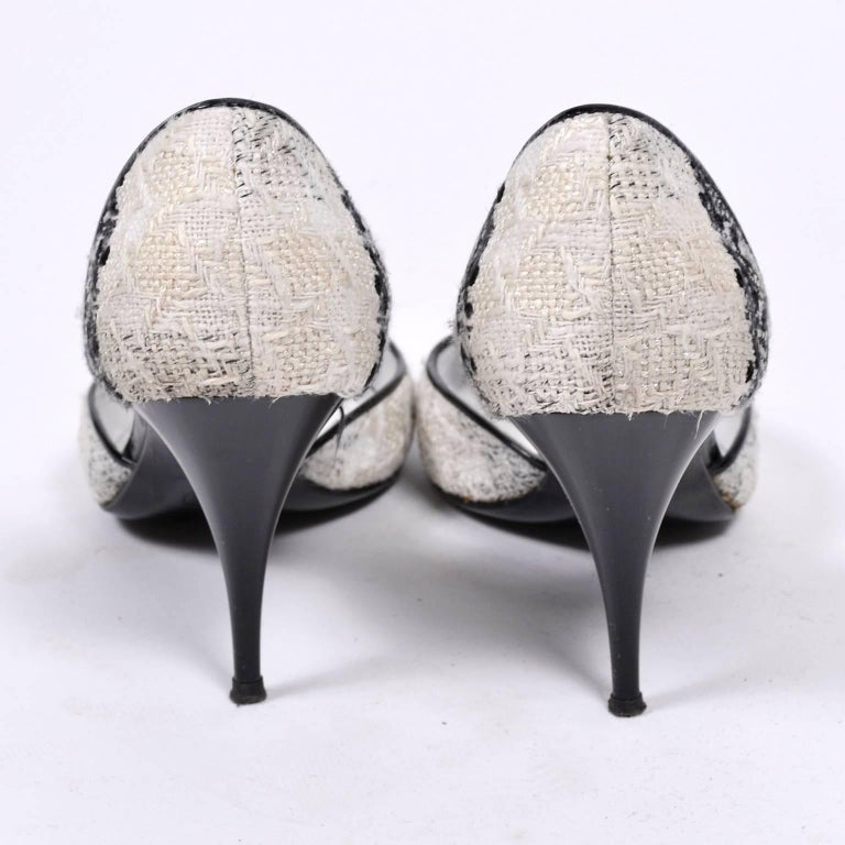 Chanel Black and Ivory Woven D'Orsay Pointed Toe Shoes Size 7.5  7