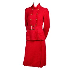 Vintage 1981 Adolfo Red Wool Skirt Suit Made Famous by First Lady Nancy Regan