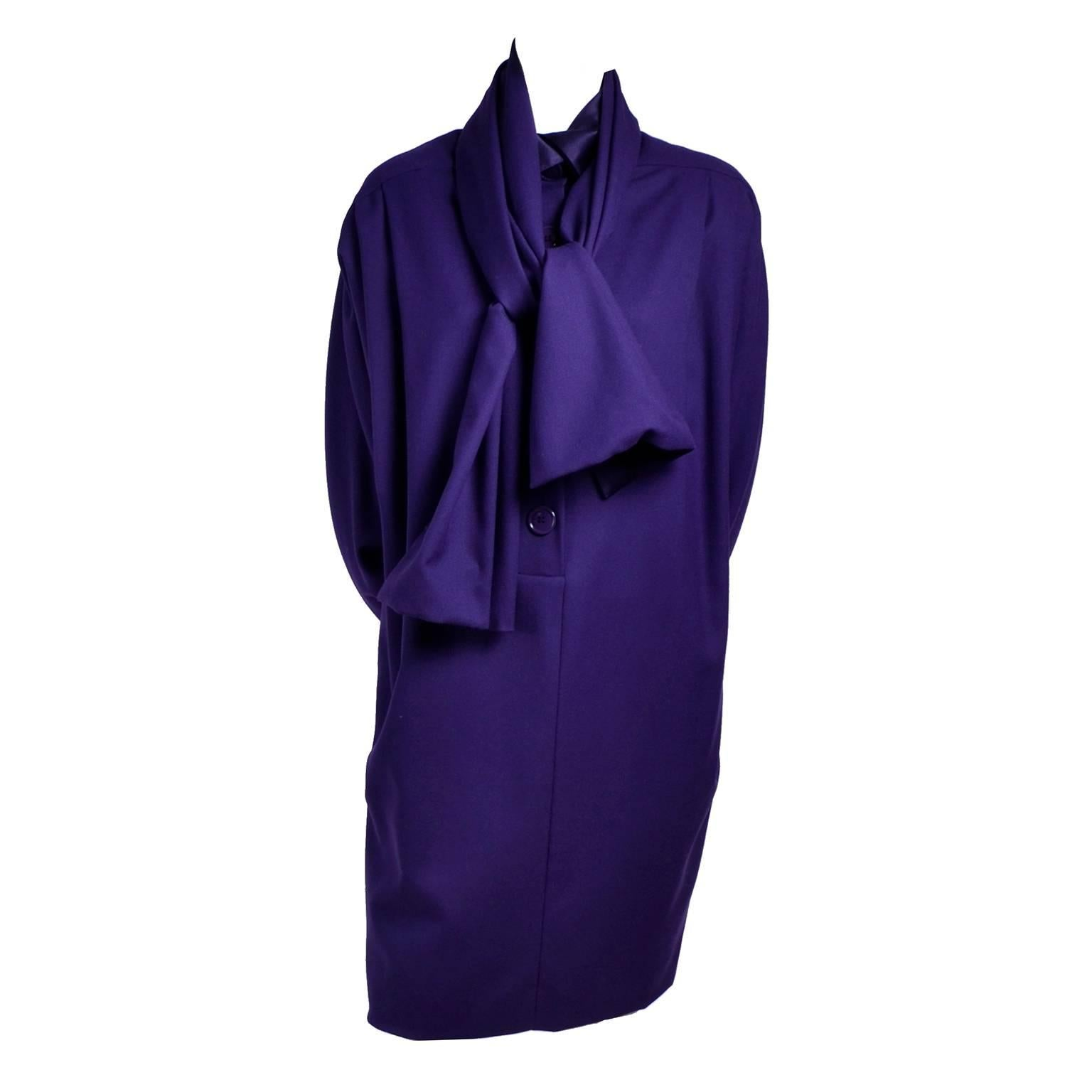 Ferre Italy Purple Wool 1990s Vintage Dress with Scarf M/L