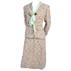 1970s Adolfo Suit in Wool Boucle W/ Skirt & Jacket & Green Silk Blouse & Belt