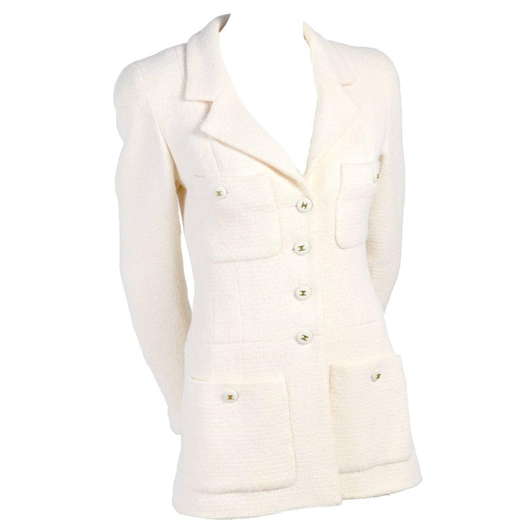 Chanel Blazer Jacket in Creamy Ivory Tweed Wool w/ CC Logo Buttons & Silk Lining For Sale