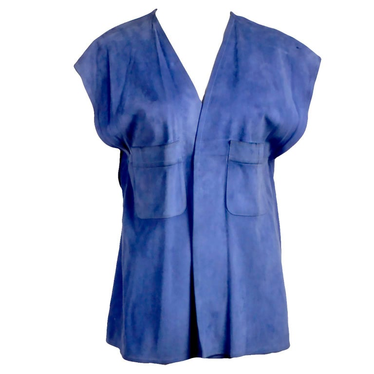 1970s Gucci Blue Suede Vest or Sleeveless Jacket with Breast Pockets