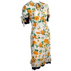 e81b40839f08 Dolce & Gabbana Dress 2pc Skirt & Blouse in Yellow Rose Floral Print ...
