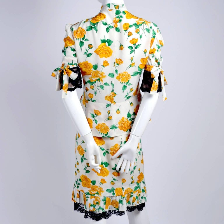 Dolce & Gabbana Dress 2pc Skirt & Blouse in Yellow Rose Floral Print & Lace Trim For Sale 3