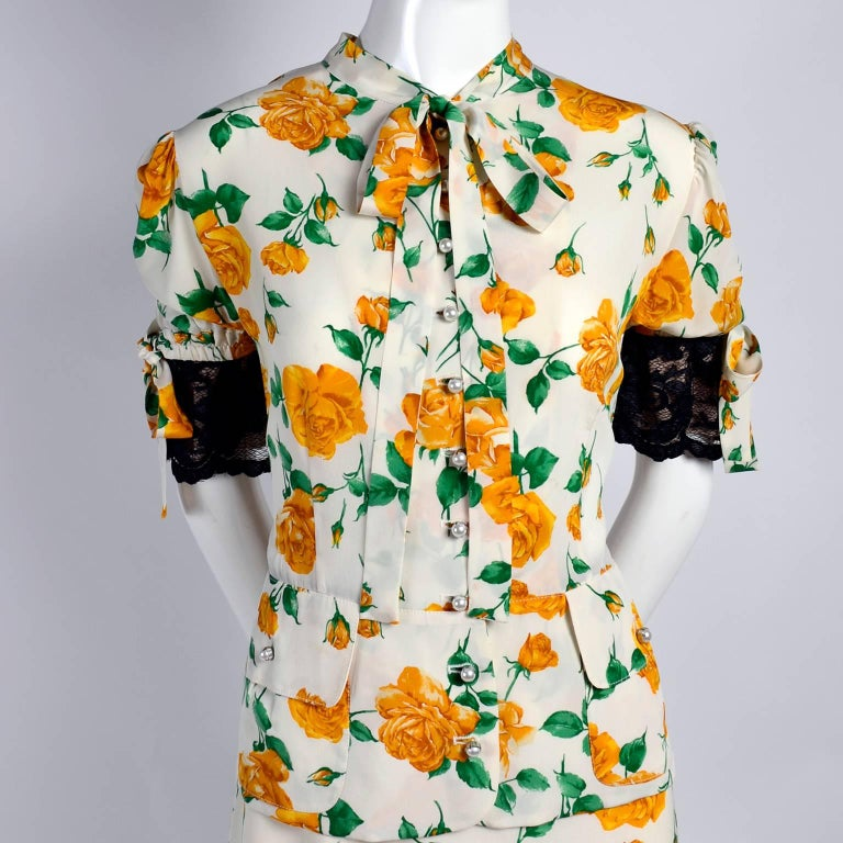 Dolce & Gabbana Dress 2pc Skirt & Blouse in Yellow Rose Floral Print & Lace Trim For Sale 1