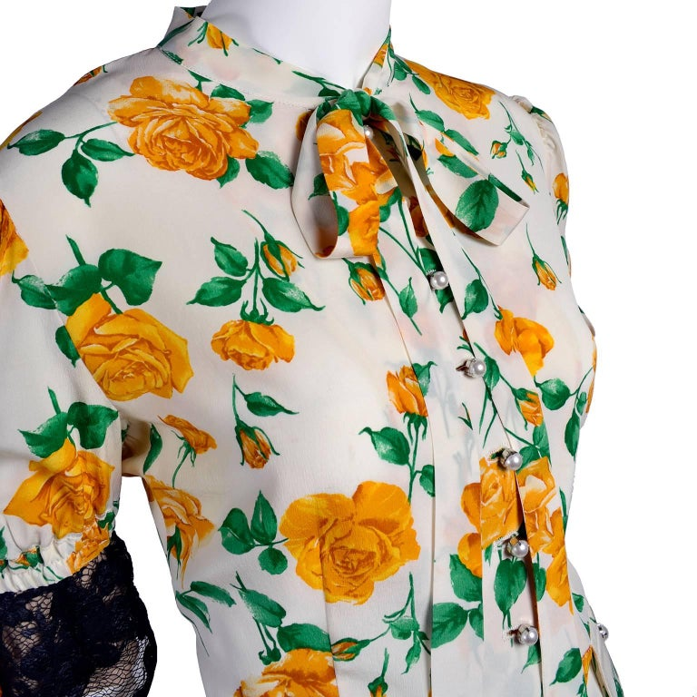 Beige Dolce & Gabbana Dress 2pc Skirt & Blouse in Yellow Rose Floral Print & Lace Trim For Sale