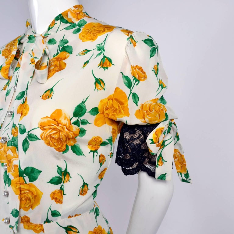 Dolce & Gabbana Dress 2pc Skirt & Blouse in Yellow Rose Floral Print & Lace Trim In Excellent Condition For Sale In Portland, OR