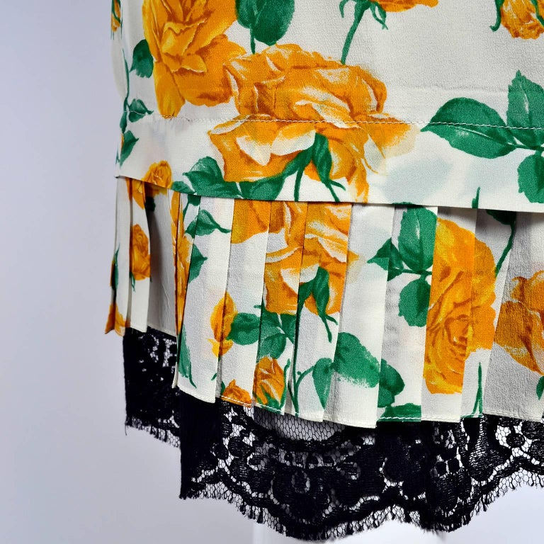 Dolce & Gabbana Dress 2pc Skirt & Blouse in Yellow Rose Floral Print & Lace Trim For Sale 2