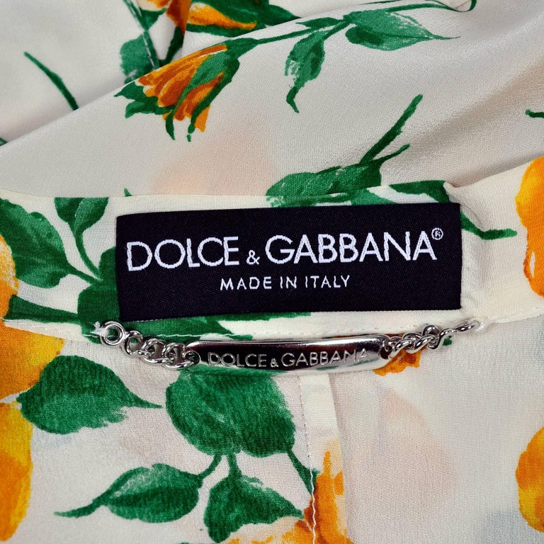 Dolce & Gabbana Dress 2pc Skirt & Blouse in Yellow Rose Floral Print & Lace Trim For Sale 4