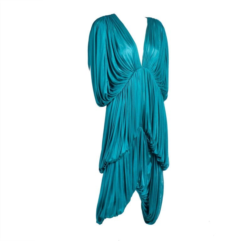 Rare 1970s Norma Kamali OMO Vintage Butterfly Dress in Draped Teal Blue  For Sale