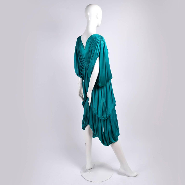 Rare 1970s Norma Kamali OMO Vintage Butterfly Dress in Draped Teal Blue  For Sale 3