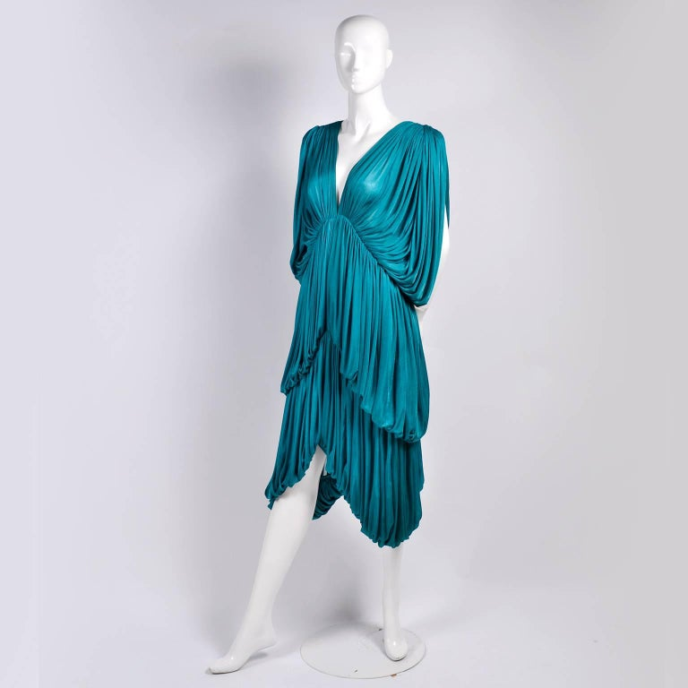Rare 1970s Norma Kamali OMO Vintage Butterfly Dress in Draped Teal Blue  For Sale 2