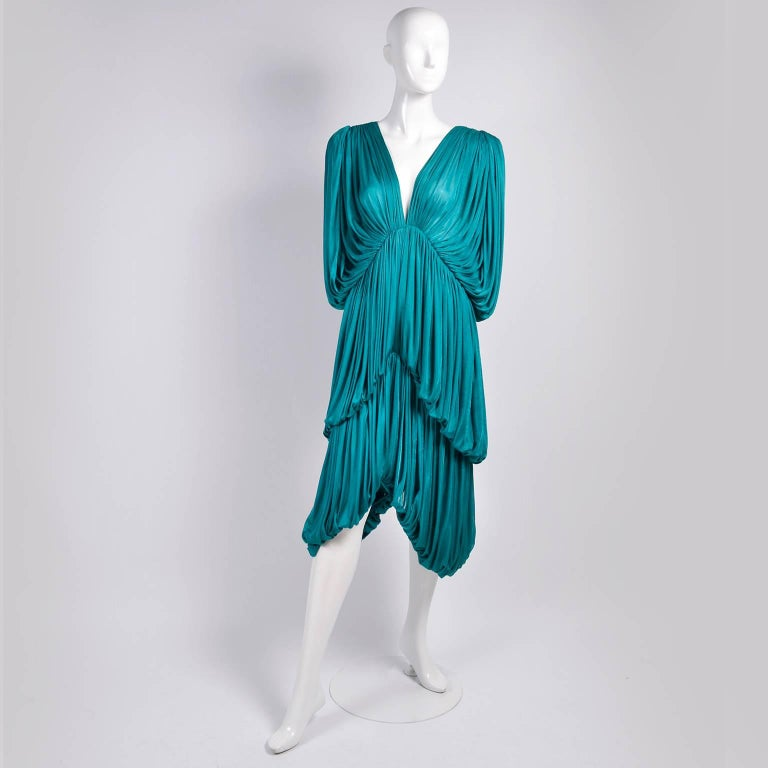 Women's Rare 1970s Norma Kamali OMO Vintage Butterfly Dress in Draped Teal Blue  For Sale