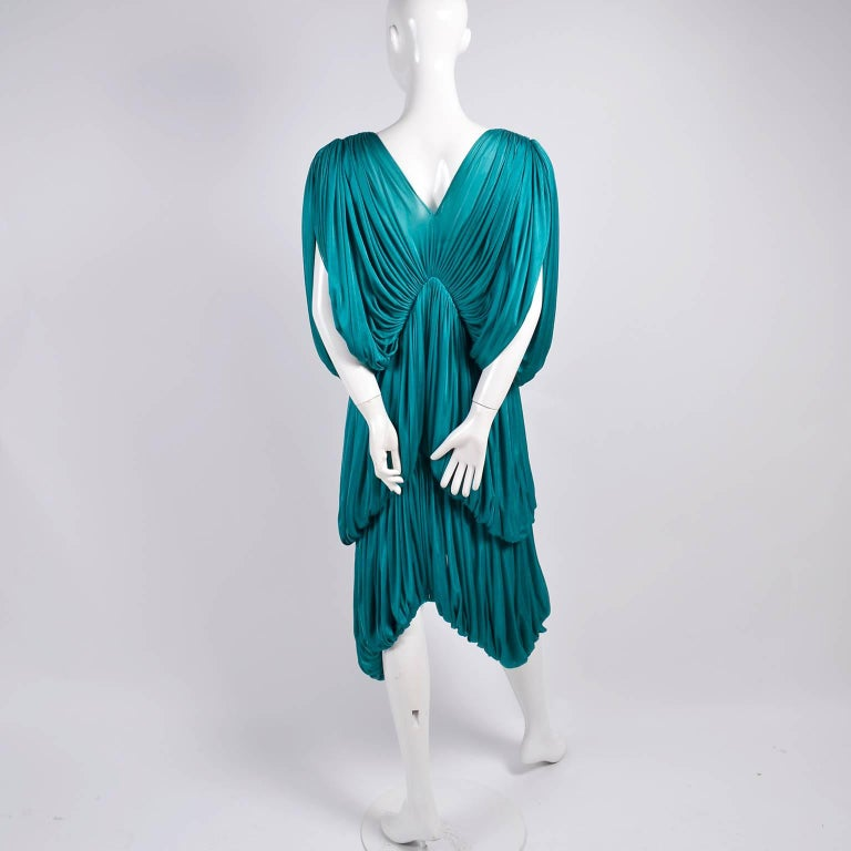 Rare 1970s Norma Kamali OMO Vintage Butterfly Dress in Draped Teal Blue  For Sale 4