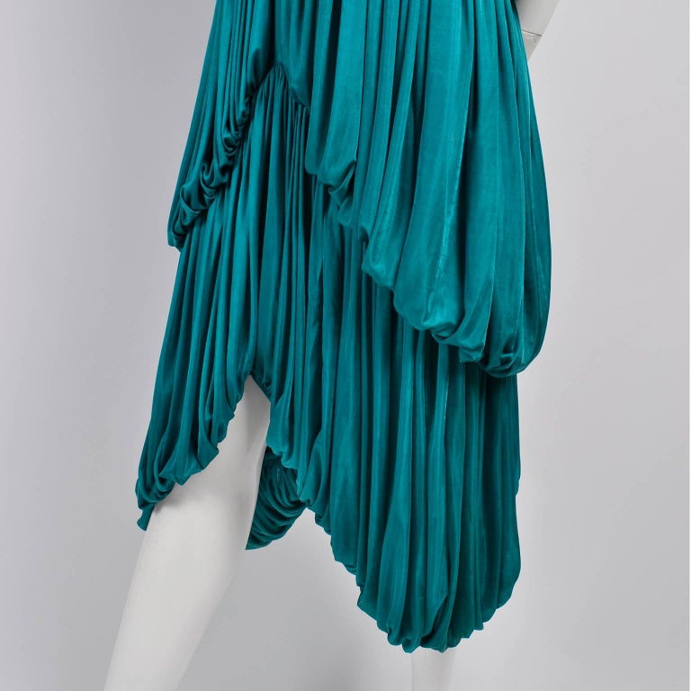 Rare 1970s Norma Kamali OMO Vintage Butterfly Dress in Draped Teal Blue  In Excellent Condition For Sale In Portland, OR