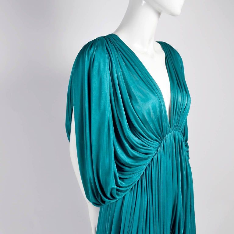 Rare 1970s Norma Kamali OMO Vintage Butterfly Dress in Draped Teal Blue  For Sale 1