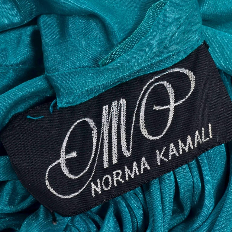 Rare 1970s Norma Kamali OMO Vintage Butterfly Dress in Draped Teal Blue  For Sale 5
