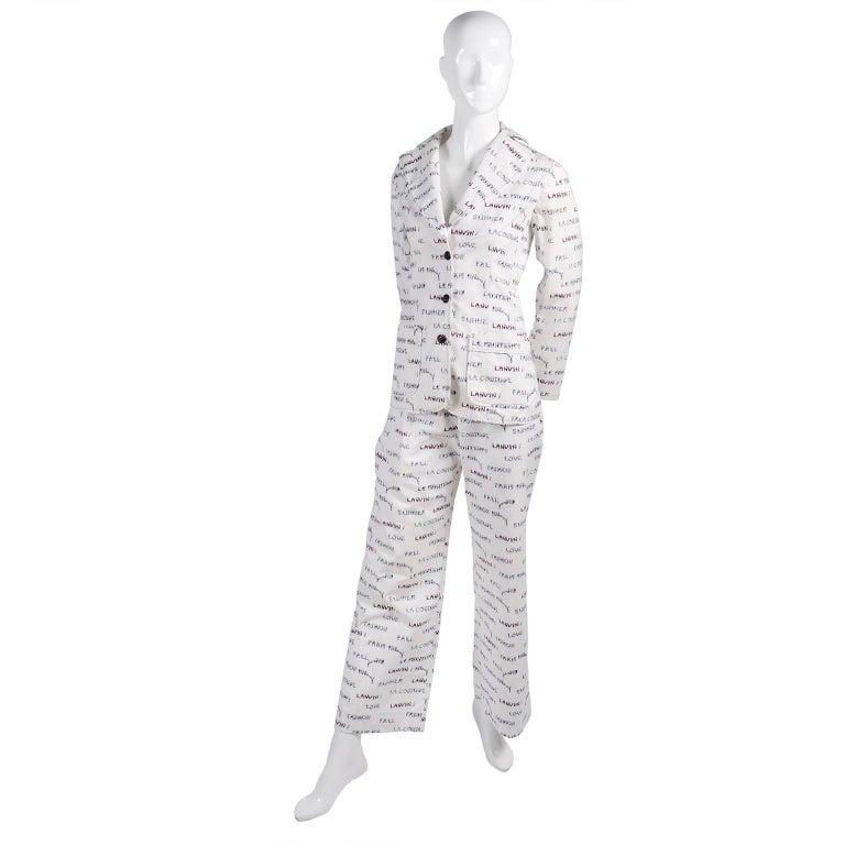 Gray 1970s Lanvin Pantsuit W/ Pants & Blazer Novelty Print W/ Acrobat Fashion Words  For Sale