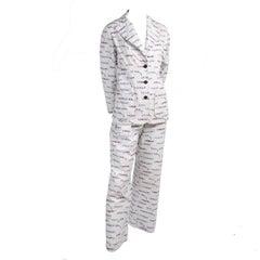 1970s Lanvin Pantsuit W/ Pants & Blazer Novelty Print W/ Acrobat Fashion Words