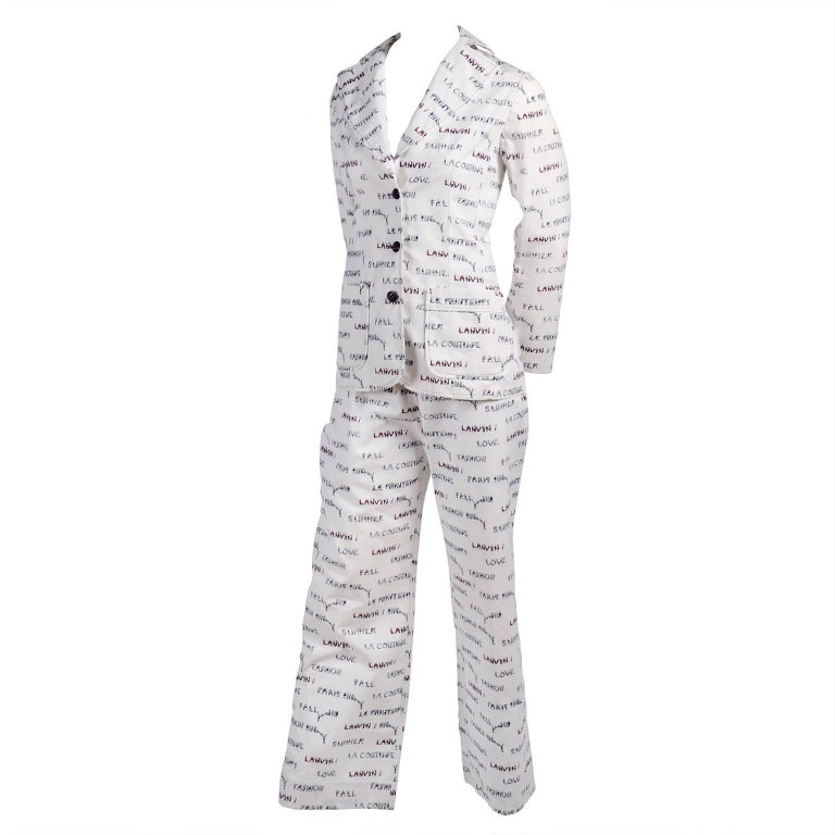 1970s Lanvin Pantsuit W/ Pants & Blazer Novelty Print W/ Acrobat Fashion Words  In Excellent Condition For Sale In Portland, OR