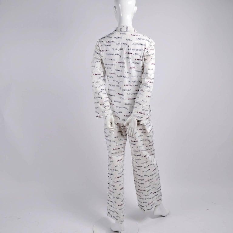 1970s Lanvin Pantsuit W/ Pants & Blazer Novelty Print W/ Acrobat Fashion Words  For Sale 4