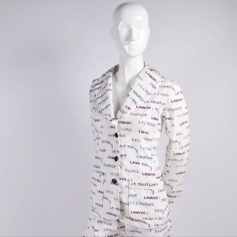 1970s Lanvin Pantsuit W/ Pants & Blazer Novelty Print W/ Acrobat Fashion Words  For Sale 2