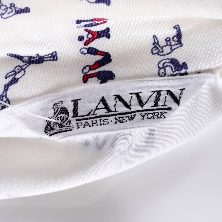 1970s Lanvin Pantsuit W/ Pants & Blazer Novelty Print W/ Acrobat Fashion Words  For Sale 5