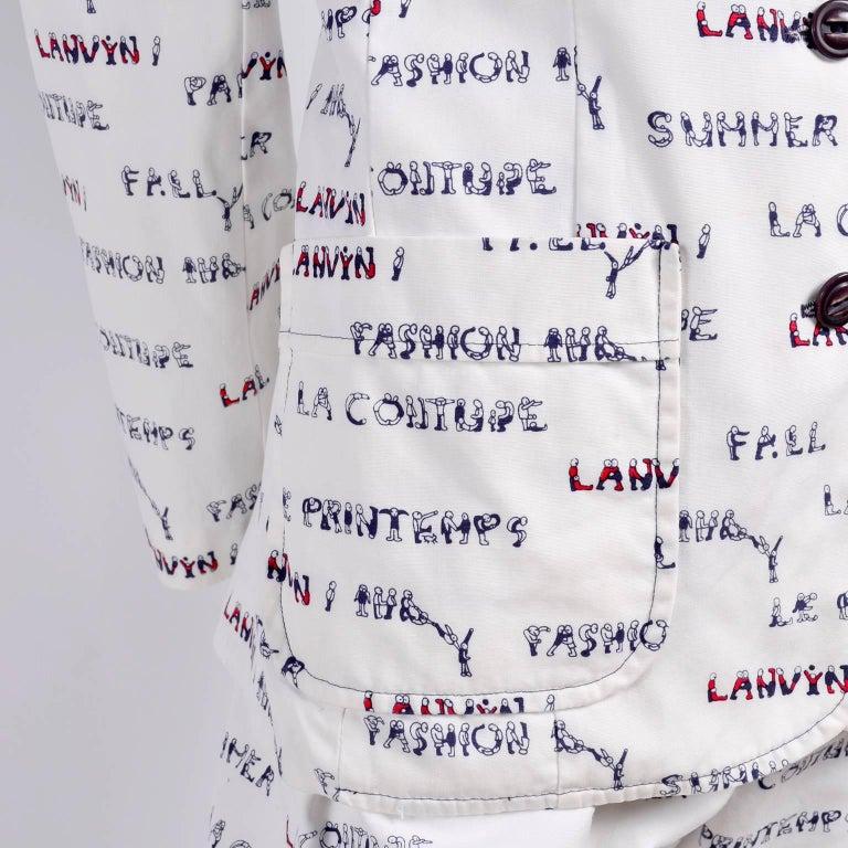 1970s Lanvin Pantsuit W/ Pants & Blazer Novelty Print W/ Acrobat Fashion Words  For Sale 1