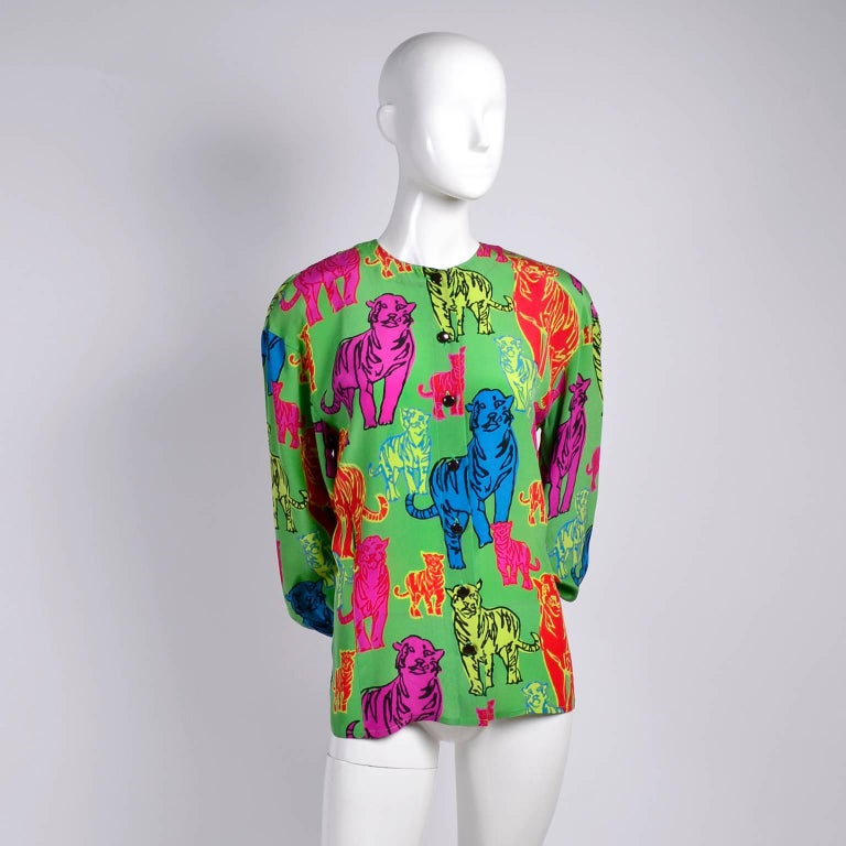 Women's Escada Silk Blouse in Yellow Pink Blue Red & Green Pop Art Tiger Bold Print For Sale