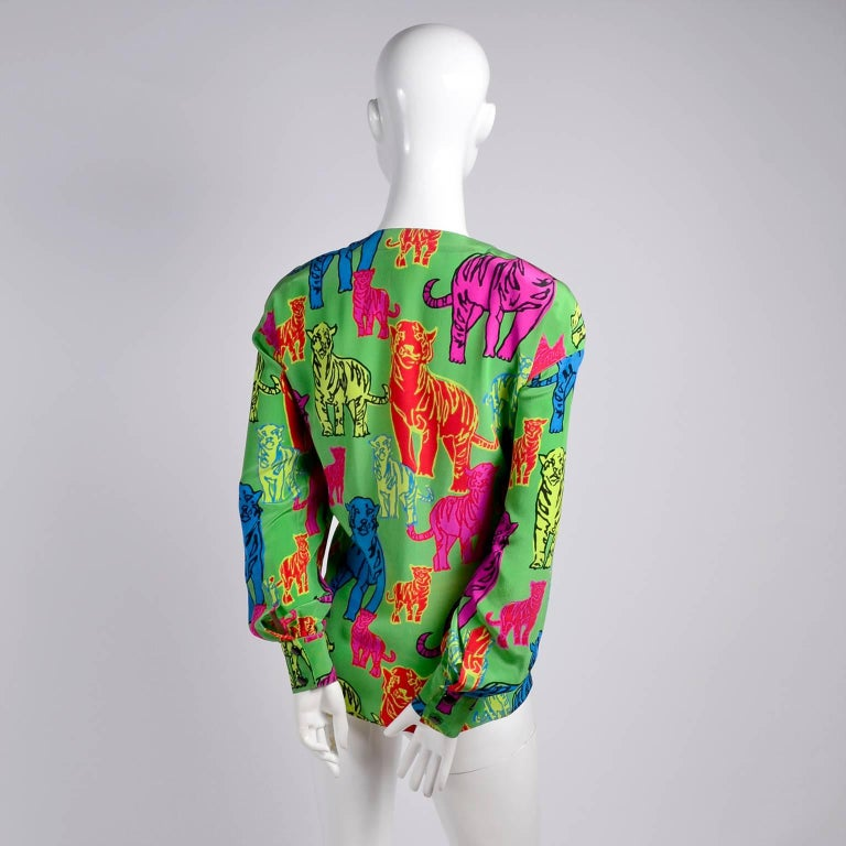 Escada Silk Blouse in Yellow Pink Blue Red & Green Pop Art Tiger Bold Print For Sale 1