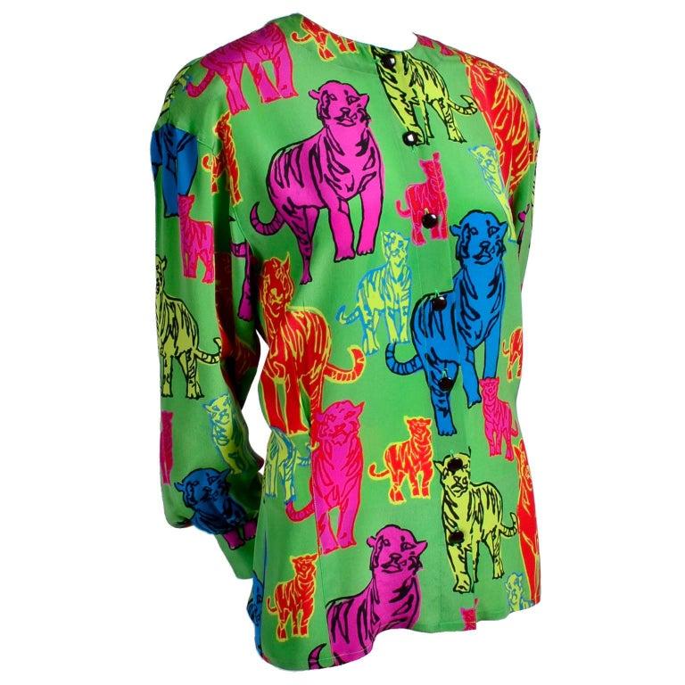 Escada Silk Blouse in Yellow Pink Blue Red & Green Pop Art Tiger Print