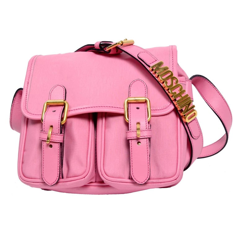 Moschino Redwall Vintage Pink Handbag School Buckle Satchel Style Bag