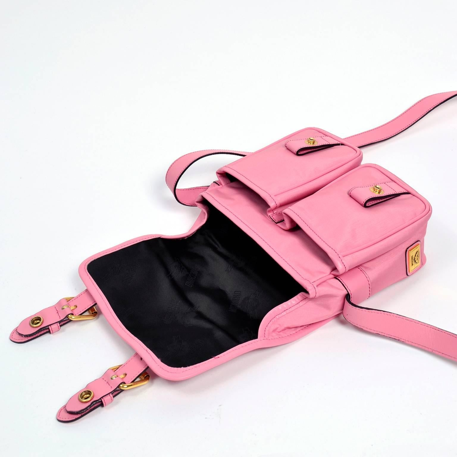 Moschino Redwall Vintage Pink Handbag School Buckle Satchel Style Bag Et3JUqdSd