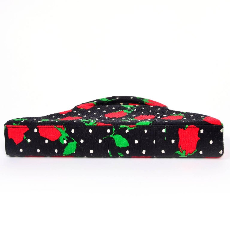 Women's 1988 Christian LaCroix Handbag in Red Roses & White Polka Dots on Black Fabric For Sale