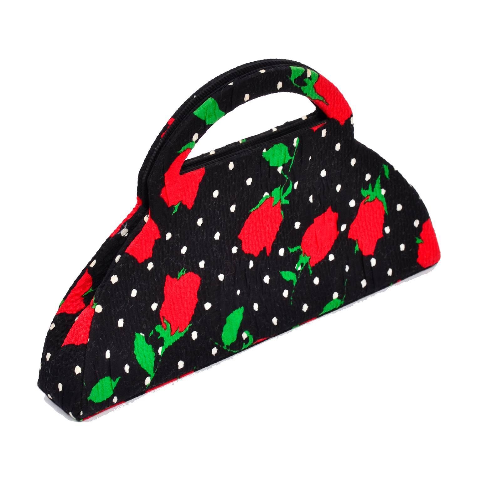 Christian Lacroix 1988 Christian Lacroix Handbag In Red Roses & White Polka Dots On Black Fabric 3Skltz3