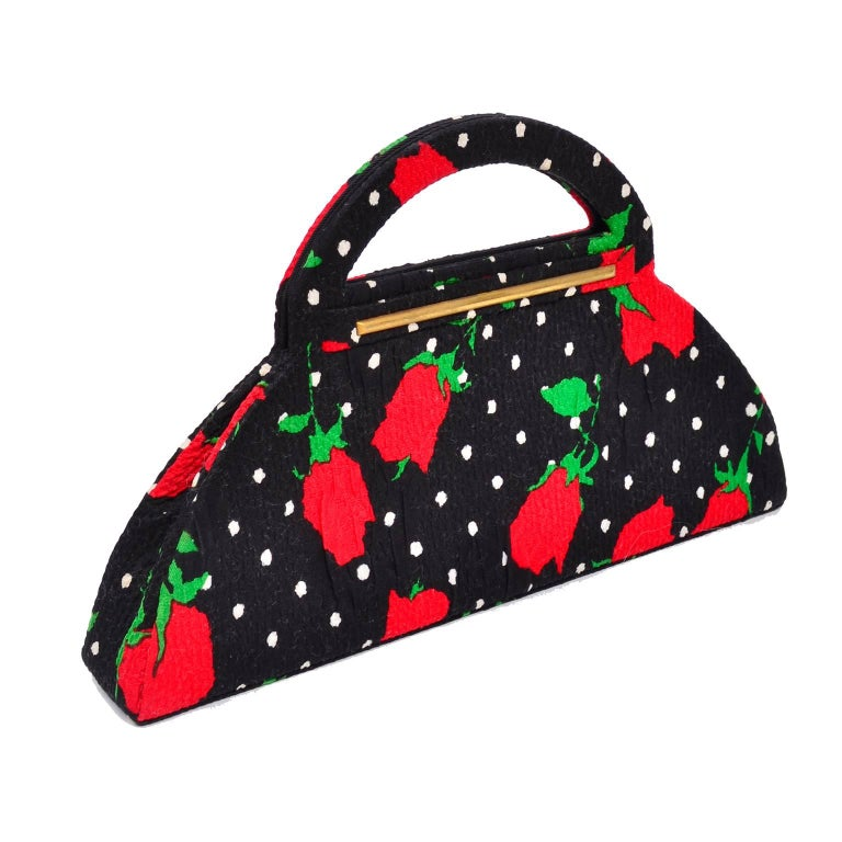 1988 Christian LaCroix Handbag in Red Roses & White Polka Dots on Black Fabric For Sale 1