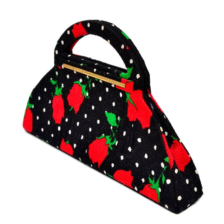 1988 Christian LaCroix Handbag in Red Roses & White Polka Dots on Black Fabric In Excellent Condition For Sale In Portland, OR
