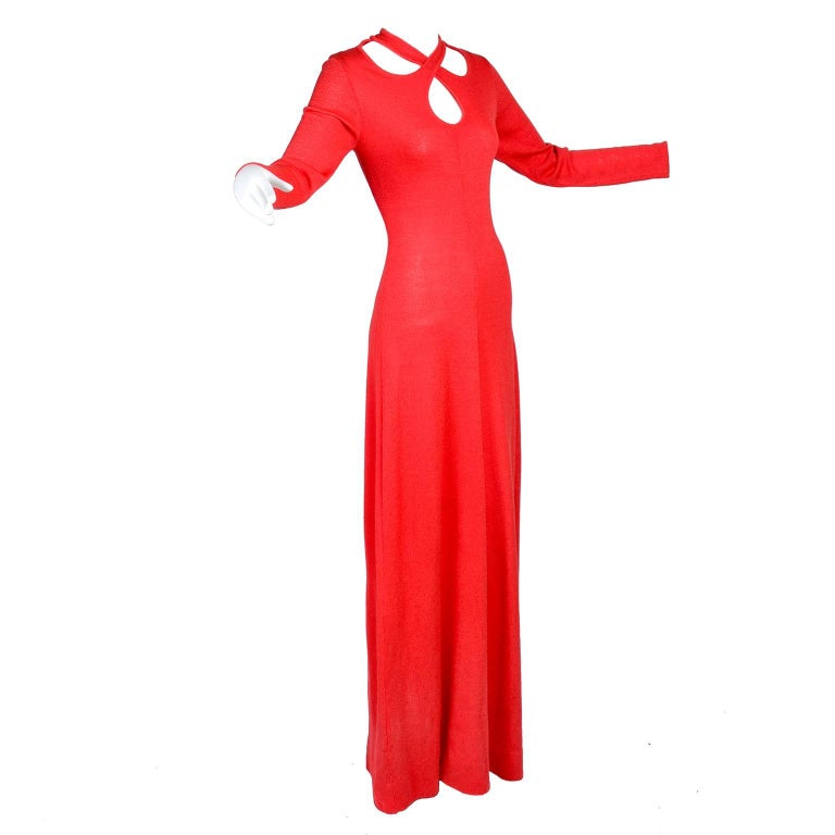 1970s Orange Red Knit Dress With Keyhole Openings Made in Italy For Sale