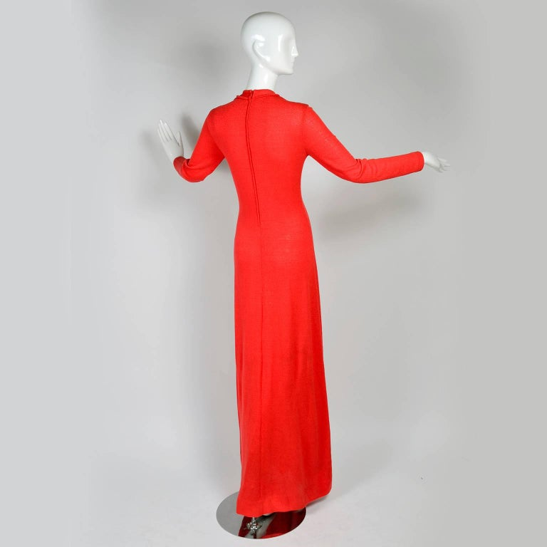1970s Orange Red Knit Dress With Keyhole Openings Made in Italy For Sale 1